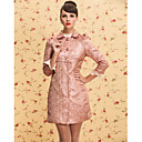 ts d'epoca tutto brillantini bavero del cappotto jacquard trench