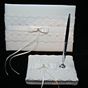 Elegant Wedding Guestbook And Pen Set With Lace