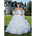 Ball Gown Sweetheart Strapless Chapel Train Organza Wedding Dress With A Wrap