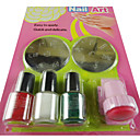 Nail Art Kit Stamping Image Plates Tools Set (3 Bottles Nail Polish,2 Steel Plates And 1 Seal Tool)