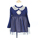A-line Long Sleeve Mini length Tulle   Wool Flower Girl Dress With Pearls   Lace (More Colors)