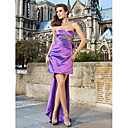 Sheath/Column Sweetheart Short/Mini Asymmetrical Taffeta Cocktail Dress With Removable Train