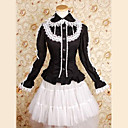 Long Sleeves Knielanger Black Cotton White Lace Gothic Lolita Bluse