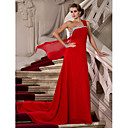 Sheath/Column One Shoulder Court Train Chiffon Evening Dress With Beading