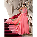 A-line One Shoulder Court Train Chiffon Evening Dress