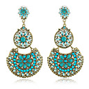Alliage Jolie Perles et Cristaux Round Chandelier Earrings (Plus de couleurs)