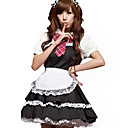 Lovely Black Lace Spandex Maid Suits(5 Pieces)