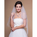 Gorgeous Two-tier Fingertip Wedding Veil With Beaded/Scalloped Edge
