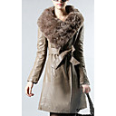 Long Sleeve Rabbit Fur Collar Casual/Evening PU Coat(More Colors)