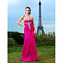 Sheath/Column Strapless Floor-length Taffeta Evening Dress