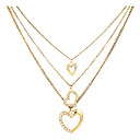 Women's Layered Heart Vintage Diamond Necklace