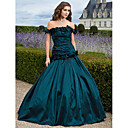 Ballkleid off-the-Schulter bodenlangen Taft Abendkleid