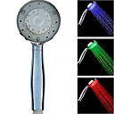 Contemporary Temperature Chrome Control 3 Colors Changing LED Handle Shower Head