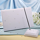 &quot;White Starlight&quot; Wedding Guest Book and Pen Set
