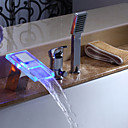 Color Changing LED Hydropower Waterfall Widespread Tub Faucet with Hand Shower