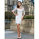 Sheath/Column Square Short/Mini Lace Wedding Dress
