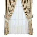 (Two Panels) Traditional Geometic Jacquard Energy Saving Curtains