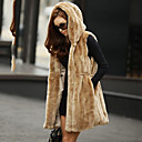 Hooded Collar Faux Fur Casual/Office Vest (More Colors)
