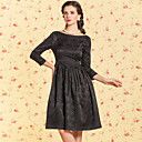 TS VINTAGE Jacquard Bateau Neck Backless Swing Dress