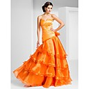 A-line Sweetheart Floor-length Organza Evening Dress With Side Draping And Tiers