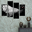 35&quot; Modern Style Tiger Wall Clock in Canvas 4pcs