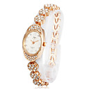 Women's Alloy Quartz Movement Glass Oval Shape with Rhinestone Dress Watch