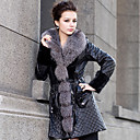 Gorgeous Long Sleeve Fox Fur Shawl Collar Lambskin Leather With Mink Fur Casual/Party Coat