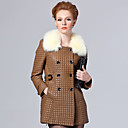 Long Sleeve Fox Fur Turndown Collar Lambskin Leather Casual/Party Coat (More Colors)