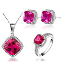 Gorgeous 925 Silver With Rhinestone/Cubic Zirconia Women's Jewelry Set Including Necklace,Earrings,Ring(More Colors)
