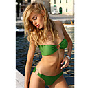 Women's Sexy Lovely Pleated Strapless Green Swimwear