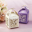 Floral Cut-out Favor Boxes With Tag - Set of 12 (More Colors)