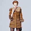3/4 Sleeve Raccoon Hooded Collar Rex Rabbit Fur Casual/Party Coat (More Colors)