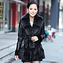 Long Sleeve Fox Fur Shawl Collar Lambskin Leather With Mink Fur Casual/Party Coat (More Colors)