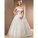 Ball Gown Floor-length Taffeta And Tulle Wedding Dress With Removable Straps