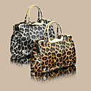 Women's Basic Crocodile Pattern Leopard Woven Satchel