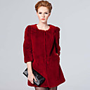 Half Sleeve Collarless Rex Rabbit Fur Casual/Party Coat (More Colors)