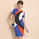 TS Geometric Contrast Color Short Sleeve Sheath Jersey Dress