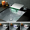 Contemporary Chrome Finish Color Changing LED Waterfall Bathroom Sink Faucet
