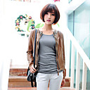 Long Sleeve Collarless PU Casual/Office Jacket