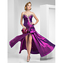 A-line Strapless Floor-length Taffeta Evening Dress