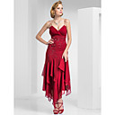 Trumpet/Mermaid Spaghetti Straps Tea-length Chiffon Evening Dress