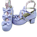 Handmade Purple PU Leather 6.3cm High Heel Country Lolita Shoes with Bow