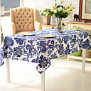 Elegant Floral Linen / Cotton Blend Table Cloth