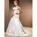 Trumpet/Mermaid Off-the-shoulder Sweep/Brush Train Taffeta Wedding Dress