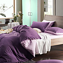 4PCS Morden Purple/Lilac Solid Flannel Duvet Cover Set
