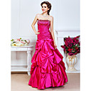 A-line Strapless Floor-length Stretch Satin Evening Dress With Beading And Pick Up Skirt