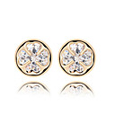 Fabulous Round 18K Gold Plated CZ Cubic Zirconia Earring(More Colors)
