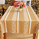Traditional Gold Polyester Cotton Blend Jacquard Geometric Table Cloths