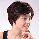 Capless Short Chocolate Brown Curly Mixed Hair Wigs Side Bang