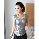Frauen sexy V-Ausschnitt Metallic Slim T-Shirt